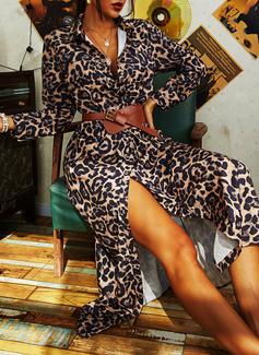 Leopard Sheath Long Sleeves Maxi Casual Dresses