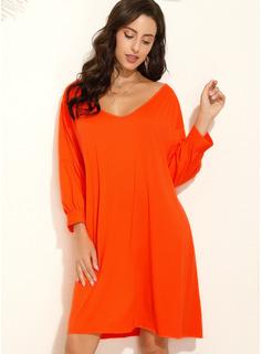 Knee Length V neck Polyester Solid 3/4 Sleeves/Lantern Sleeve Fashion Dresses