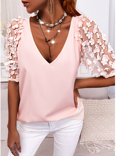 Blomster Solid V-hals Korte ærmer Elegant Skjorter
