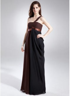 Empire One-Shoulder Floor-Length Chiffon Maternity Bridesmaid Dress With Ruffle