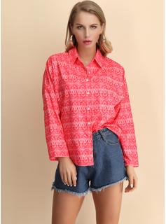 Manga larga Algodón Solapa Camisas Blusas Blusas