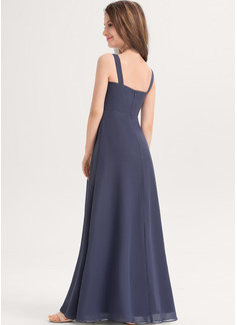 A-Line Sweetheart Floor-Length Chiffon Junior Bridesmaid Dress With Ruffle