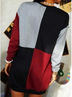 Color Block Shift Long Sleeves Mini Casual Sweatshirt Dresses