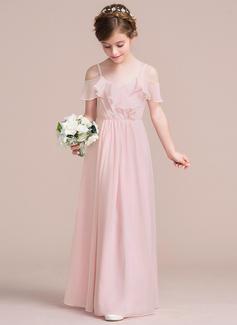 A-Line/Princess V-neck Floor-Length Chiffon Junior Bridesmaid Dress With Cascading Ruffles