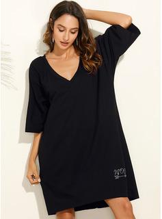 Knee Length V neck Polyester Solid 3/4 Sleeves Fashion Dresses