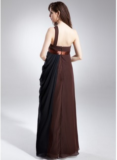 Robe Empire Seule-épaule Longueur ras du sol Mousseline Robe de demoiselle d'honneur - enceinte avec Plissé