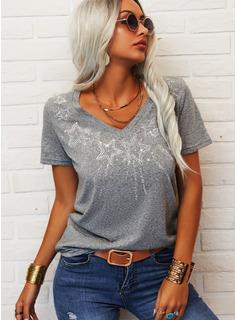 Lentejuelas Cuello en V Manga Corta Casual camiseta