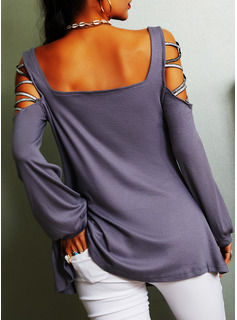 Solid Cold Shoulder Lantern Sleeve Long Sleeves Casual Sexy Blouses