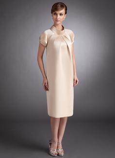 A-Linie High Neck Knielang Satin Brautjungfernkleid Für Schwangere mit Rüschen