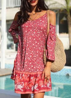 Floral Print Shift 3/4 Sleeves Cold Shoulder Sleeve Mini Boho Casual Vacation Dresses