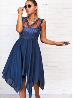 Lace Solid A-line Sleeveless Asymmetrical Casual Skater Dresses