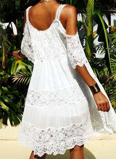 Blonder Solid Skiftekjoler Kold-skulder ærmer Korte ærmer Mini Den lille sorte Elegant Mode kjoler