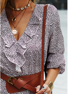 Print A-linjeklänning Långa ärmar Mini Fritids skater Modeklänningar