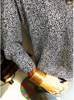 leopardo Blocchi di colore Scollatura a V Maniche lunghe Bottone Casuale Camicie