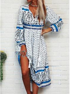 Print Kjole med A-linje Lange ærmer Midi Boho Casual Ferie Mode kjoler