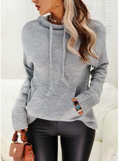 Hooded Casual Solid Pocket Sweaters