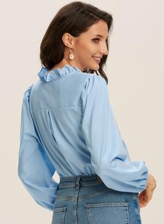 Einfarbig Lange Ärmel Puffärmel Polyester V-Ausschnitt Rüsche Blusen Blusen