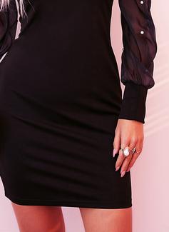Solid Perlebrodering Bodycon Lange ærmer Puf-ærmer Mini Den lille sorte Party Mode kjoler