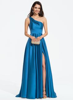 Aライン ワンショルダー スウィープ・トレーン サテン プロム用ドレス とともに スプリットフロント