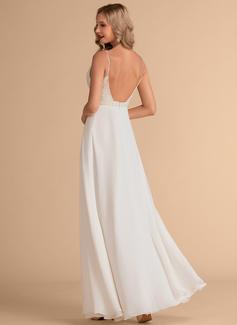 A-Line Sweetheart Floor-Length Chiffon Wedding Dress With Beading