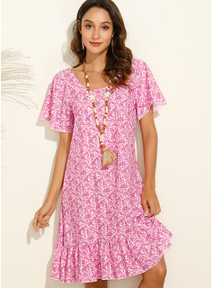 Above Knee Round Neck Polyester Print Short Sleeves Fashion Dresses