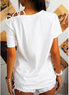 Print One Shoulder Short Sleeves Casual Blouses