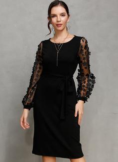 Solid Åtsittande Långa ärmar Midi Den lilla svarta Party Elegant Penna Modeklänningar