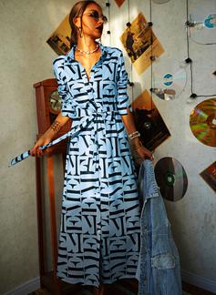 Print A-line Long Sleeves Maxi Casual Shirt Skater Dresses
