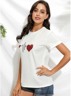 Drucken Kurze Ärmel Baumwolle Polyester Rundhals T-shirt Blusen