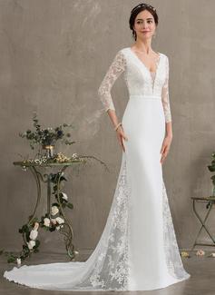 Trumpet/Mermaid V-neck Chapel Train Chiffon Wedding Dress With Beading Sequins