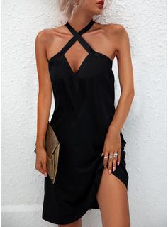 Sólido Vestidos sueltos Sin mangas Mini Pequeños Negros Casual Vestidos de moda