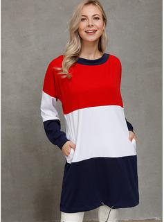 Sobre la rodilla Cuello redondo poliéster color-block Mangas Largas Vestidos de moda