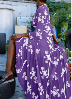 Цветочный Распечатать A-линии Рукава 3/4 Макси элегантный Конькобежец Модные платья