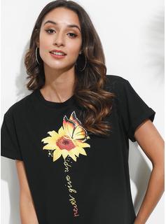 Drucken Sonnenblumendruck Kurze Ärmel Polyester Rundhals T-shirt Blusen