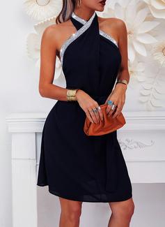 Einfarbig Etui Ärmellos Midi Party Elegant Modekleider