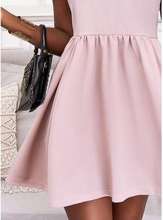 Sólido Vestido línea A Manga Corta Mini Casual Elegante Patinador Vestidos de moda