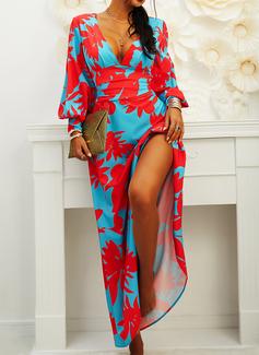 Floral Print Sheath Lantern Sleeve Long Sleeves Maxi Party Elegant Dresses