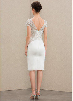 Sheath/Column V-neck Knee-Length Satin Lace Wedding Dress