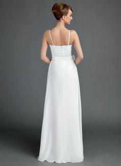 A-Line/Princess V-neck Floor-Length Chiffon Wedding Dress With Ruffle Sash Bow(s)