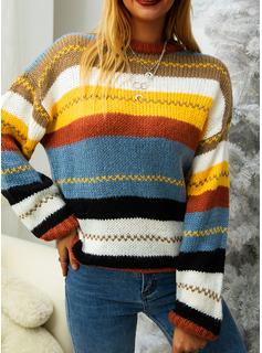 Rundhalsausschnitt Lässige Kleidung gestreift Pullover