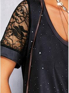 Impresión Cuello Redondo Manga Corta Casual Blusas