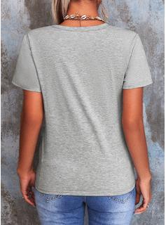 Print Rund-ringning Korta ärmar Fritids t-shirt