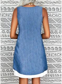 Sólido Vestidos sueltos Sin mangas Midi Casual Franelilla Vestidos de moda