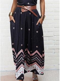 Impresión Vestido línea A Sin mangas Maxi Casual Patinador Vestidos de moda