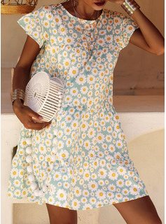 Blommig Print Shiftklänningar Korta ärmar Mini Fritids Modeklänningar