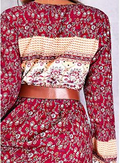 Impresión Vestido línea A Manga Larga Midi Boho Patinador Vestidos de moda