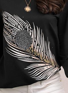 In rilievo Stampa Girocollo Maniche lunghe Casuale Reggiseno Tshirt