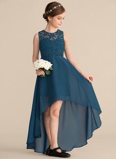A-Line Scoop Neck Asymmetrical Chiffon Lace Junior Bridesmaid Dress