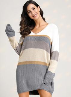 Trozos de color raya poliéster Cuello en V Suéter Vestidos De Suéter Suéteres