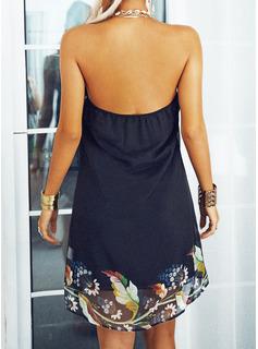 Impresión Vestidos sueltos Sin mangas Mini Casual Vestidos de moda